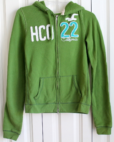 Boys Hollister Full Zipper Sweat Hoodie Sz L Green Logo