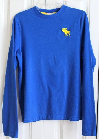 Boys AF Abercrombie & Fitch Kids Sz XL Royal Blue Shirt Long Sleeve