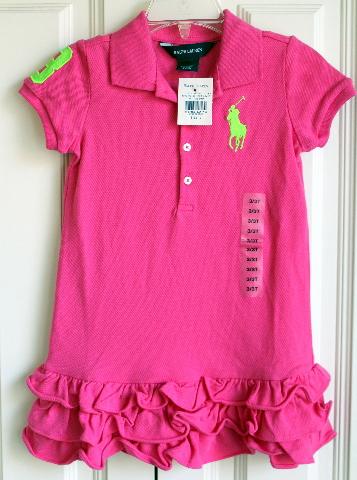 Ralph Lauren Toddler Pink Holiday Dress NWT Sz 3/3T Ruffles Short Sleeve