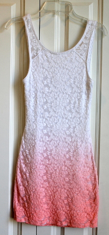 Girls A & F Abercrombie Sz M Ombre White Salmon Holiday Lace Dress