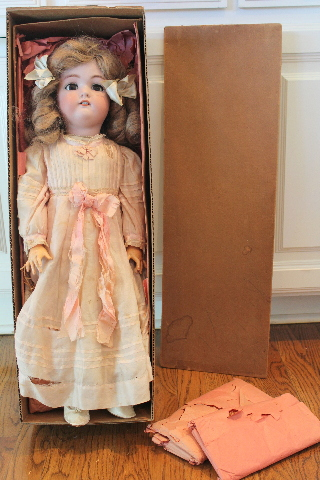 "German Antique Bebe Jutta Puppe Doll in original Box 26"" Tall"