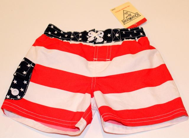 OshKosh Baby Boy New Swimsuit Patriotic Red White Blue Sz 0-3 Mo