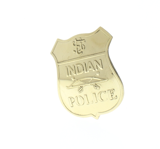 Embossed Indian Police Shiny Brass Badge Pin