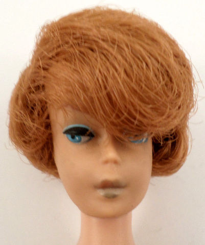 Mattel Vintage Barbie Doll Red Head Side Part Tight Bubble Cut Hair