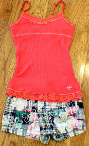 New Justice Plaid Sz 8R 10 Shorts 3 pc Lot 2 Camis Lime Tops
