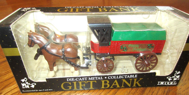Ertl Die Cast Bank Horse & Carriage Mib Happy Holidays