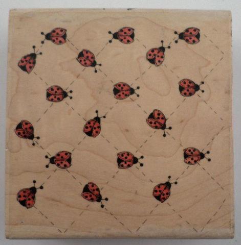 Stampassions Ladybug Bug Background Lady Grid Pattern Wooden Rubber Stamp