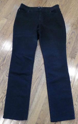 Chicos Sz 1 Regular Midnight Black Denim Beaded Jeans