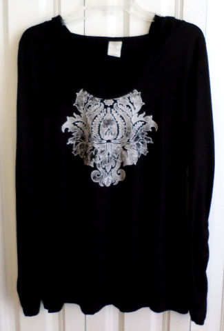 Balance Connection Ink Blot Black Hooded Shirred Sleeve Lagenlook Top Sz Xl