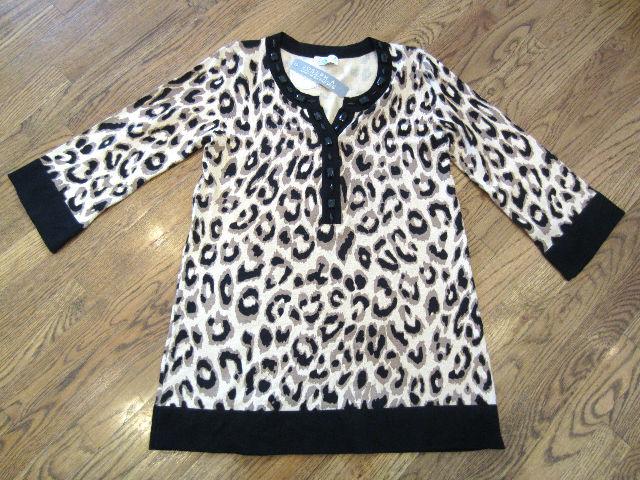 Womens NWT Leopard Cheetah Joseph A. Sz M Silky Beaded Sweater