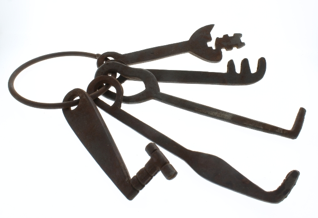 Rusty ornate Skeleton Pirate Keys on a Ring Home Decor