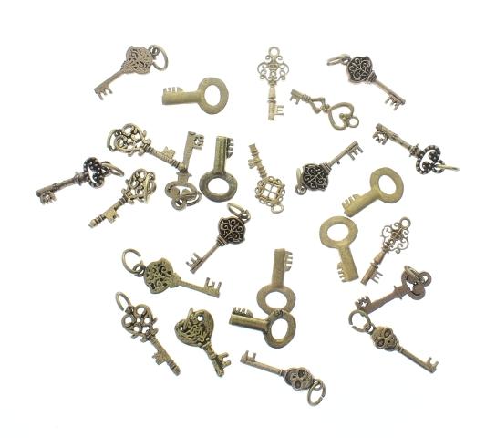 Lot of mini Brass Keys 25 pieces pcs miniature charm