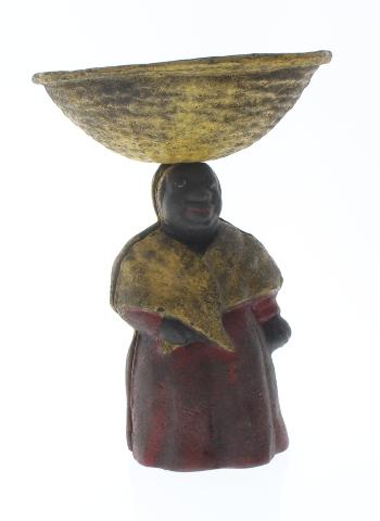 Cast Iron Bank Woman Change Dish Bowl