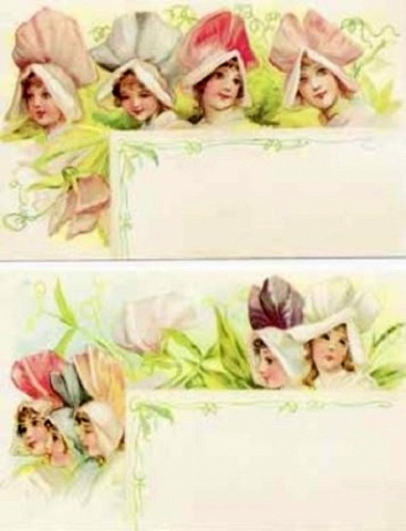 Old Print Factory New Blank Recipe Cards Set of 12 Tulip Children Flower Faces