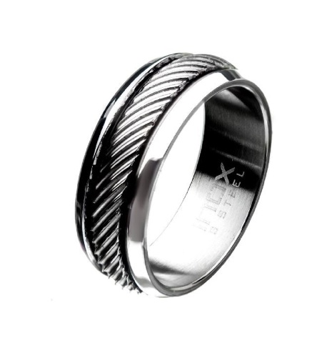 Inox Mens Polished Casted Stainless Steel Inlayed Band Ring Size 12