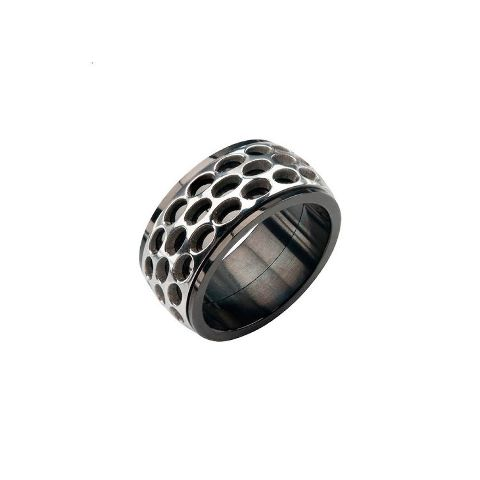 Inox Men'S Stainless Steel Black Car Grill Spinner Ring Size 11