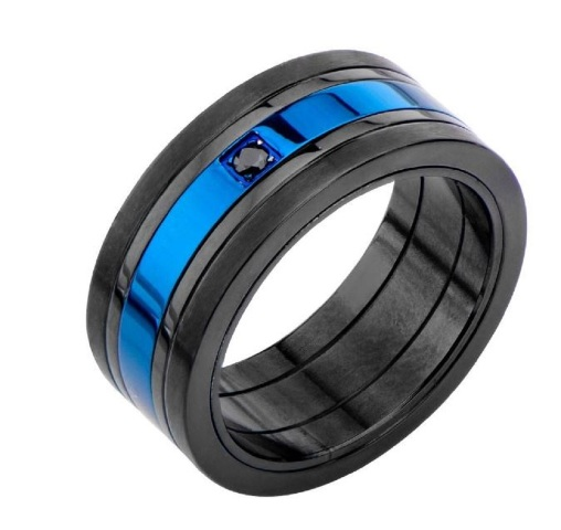 Inox Mens Matte Black and Blue IP with Black CZ Ring Size 11