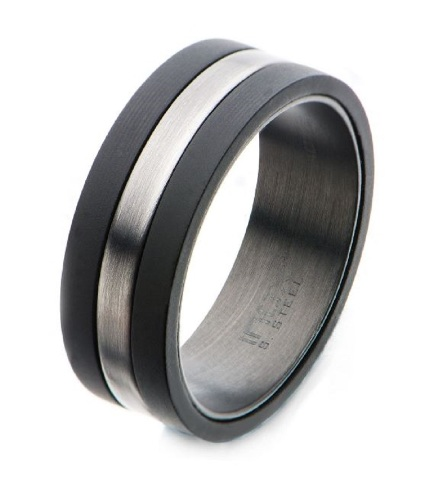 Inox Mens Solid Carbon with Antiqued Silver Plated Nero Band Ring Size 9