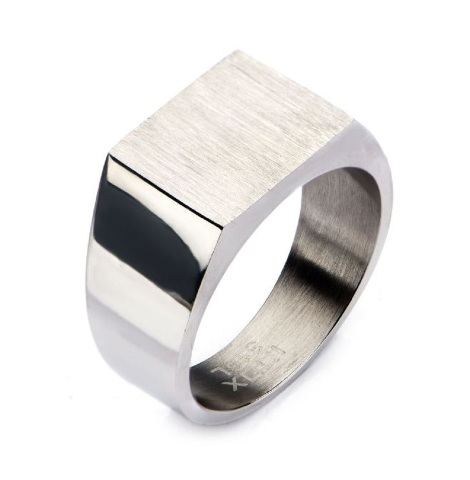 Inox Mens Stainless Steel Engraveable Classic Signet Polished Ring 11