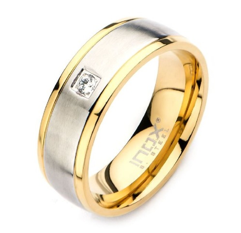 Inox Mens Stainless Steel and Gold IP with Clear CZ Ring Size 11
