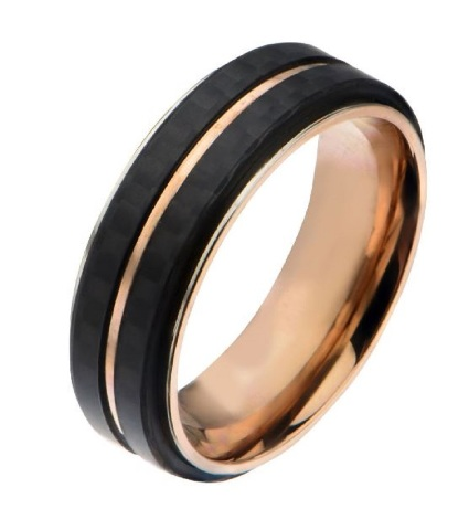 Inox Mens Rose Gold IP Double Line Carbon Fiber Ring Size 11