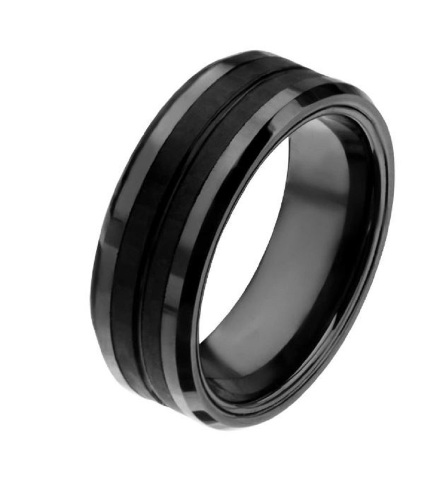 Inox Mens Black IP with Double Line Solid Carbon Fiber Ring Size 11