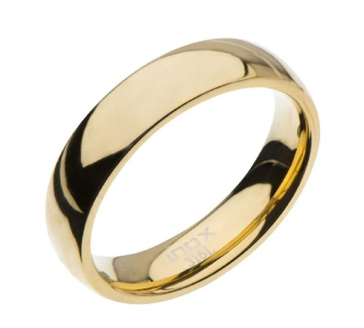 Inox Mens Stainless Steel High Gold Classic Wedding Band Ring Size 11