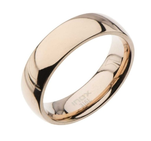 Inox Mens Stainless Steel High Rose Gold Classic  Wedding Band Ring Size 10