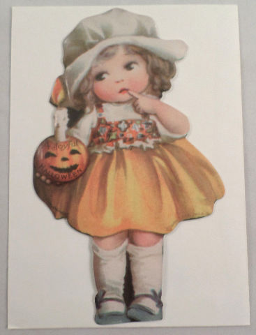 Victorian Turn Of The Century Happy Halloween Pumpkin Girl Greeting Card #Grc044