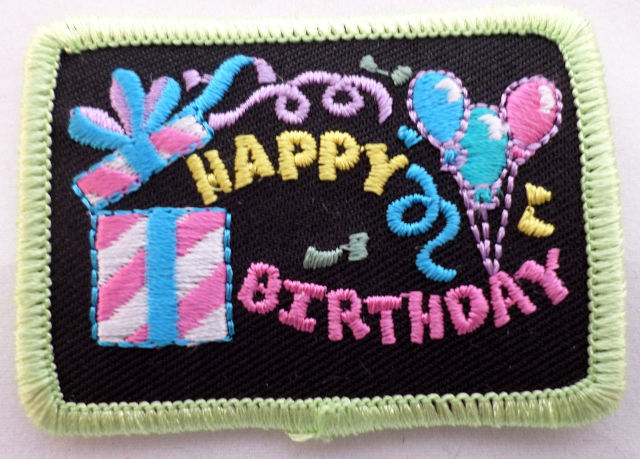 Girl Scout Gs Vintage Uniform Patch Happy Birthday Gift Present Balloons  #Gsgr