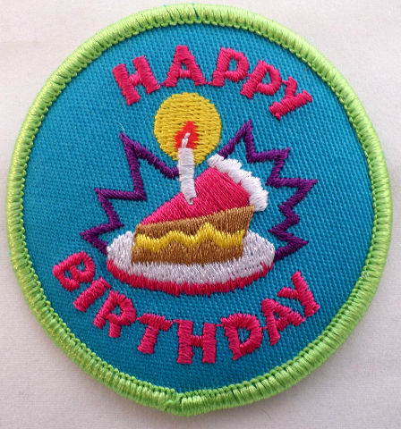 Girl Scout Gs Vintage Uniform Patch Happy Birthday Cake And Candle  #Gsgr