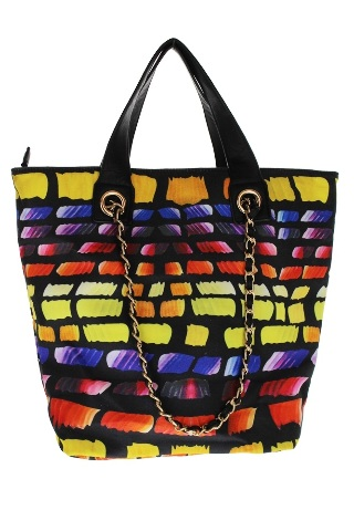 Sidewalk Chalk Multi Colored Tote with gold accents Bag Purse Handbag