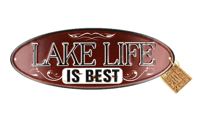 Lake Life is Best Red Distressed Oval Metal Sign Pub Game Room Bar