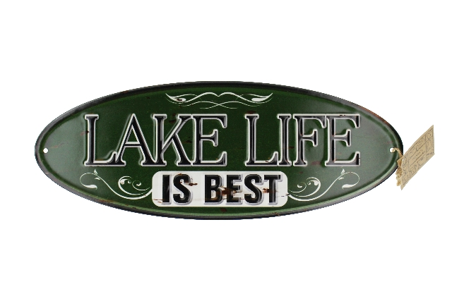 Lake Life is Best Green Distressed Oval Metal Sign Pub Game Room Bar