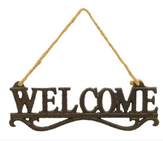 "Welcome Metal Wall Hanger Hanging Wall Sign 8.5"" x 3"" x .25"""