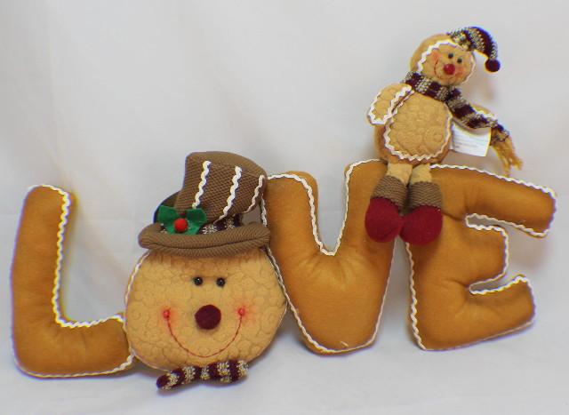 Hanna's Handiworks Plush Gingerbread Love Pillow Table Decoration
