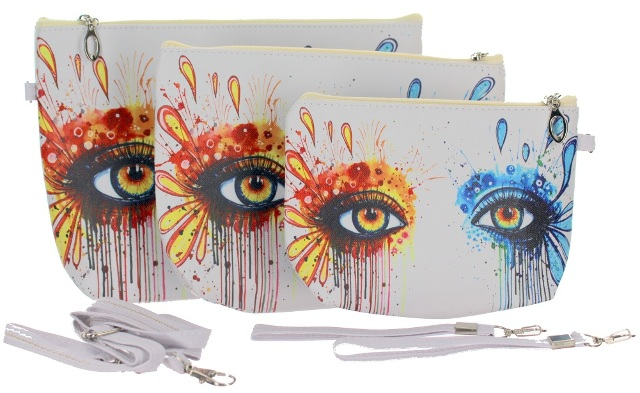 Artistic Eyes Fashion Cosmetic Bag Wristlet Trio Small Medium Large