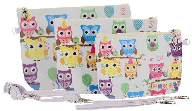 Hoot Hoot Owls Cosmetic Bag Wristlet Trio Small Medium Large