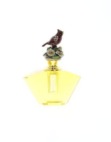47ed639f022 Jeweled Cardinal Bird Amber Refillable Glass Crystal Perfume Bottle ...
