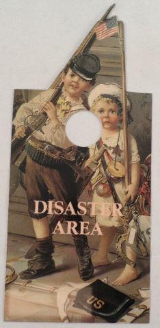 Door Knob Note Hanger Victorian Card Please Knock Disaster Area Children