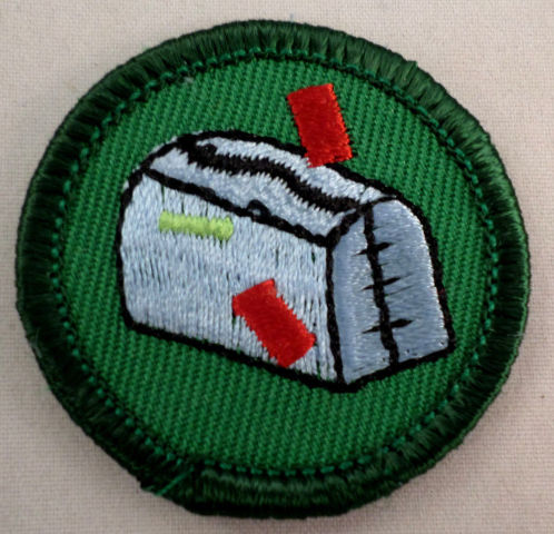 Girl Scout Gs Uniform Patch Junior On My Way Mailbox With Flag Up #Gsgr