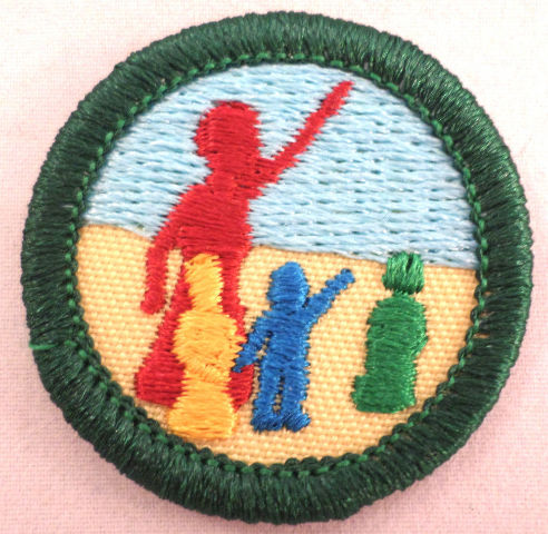 Retired Girl Scouts Junior Badge Patch~2000-2011~Now &Then Stories Around World