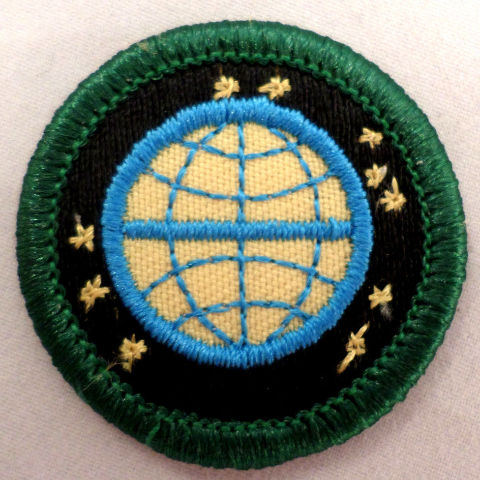 Girl Scout 1990-2001 Junior Ready For Tomorrow Badge Globe Earth Patch