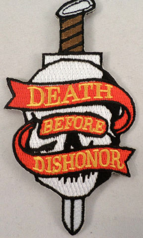 DEATH BEFORE DISHONOR SKULL WITH DAGGER MILITARY BIKER IRON ON PATCH