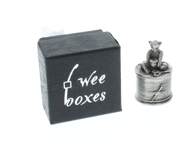 A.E. Williams Pewter Tiny Trinket Wee Box Teddy Bear on a Thimble Sewing