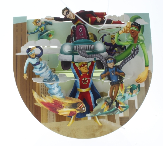 Santoro 3D Super Heros Save the Day Greeting Card Pop-Up and Rock Popnrock