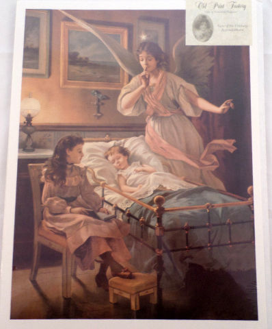 """Victorian Lithograph Print """"Angel Shhh...Over A Child And Baby"""" Sleeping New"""