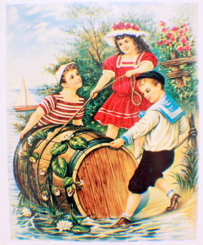 "Victorian Lithograph Print Picture Children With A Barrel - 8"" x 9.5"""