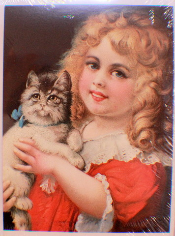 Victorian Lithograph Print Picture Little Girl With Kitten Cat