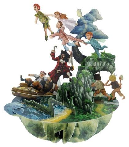 Santoro 3D Card Pirouettes Greeting Card Peter Pan Wendy Lost Boys Captain Hook